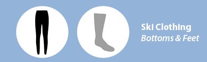 ski pants, ski socks, and base layer bottoms